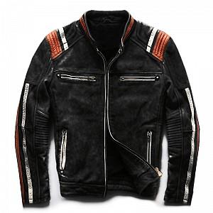 ATA Conman Black HD leather MC skinnjacka Svart   345001