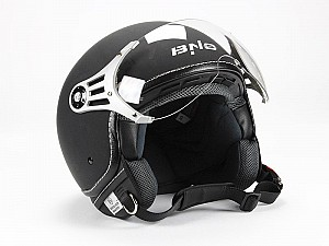 BNO PILOT OPEN FACE MATT BLACK JET MC HJÄLM  OP01-M