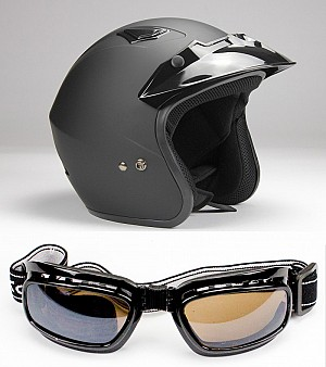 BNO JET 400 MATT BLACK JET + GOGGLES SET MC HJÄLM  (502)