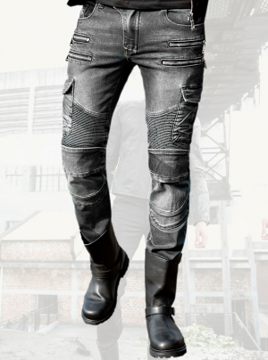 ATA HDROCK GREY KEVLAR DENIM JEANS MC BYXA