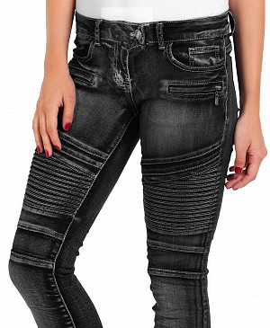 ATA LADY BIKER BLACK DENIM KEVLAR JEANS MC BYXOR LB-02