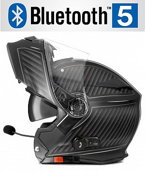 BLUETOOTH BULLET HD MATT GREY V5 SOLVISIR MC HJÄLM