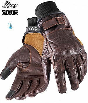 DUAL WEATHER BROWN VINTAGE RIDER WATERPROOF MC HANDSKAR