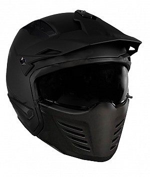 DUAL MOTO PREDATOR MATT BLACK MC / CROSS HJÄLM